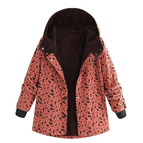 Damen Winterjacke UFODB Frauen Hoodie Mantel Leinen Nationaler Stil Drucken Slim Fit Plus SAMT Mit Kapuze Freizeitjacke Coat Sweatjacke Outwear