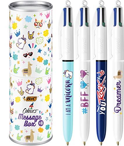 BIC 992555-4 Colours Message Box Penne a Sfera dalla Punta Media (1.0 mm), Messaggi Assortiti, Cofanetto Regalo in Metallo da 8 Pezzi