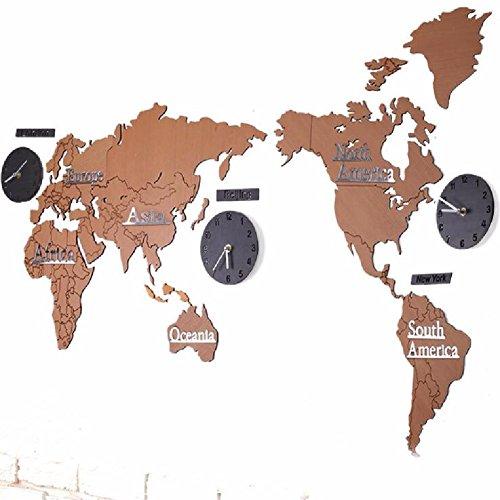 HQLCX Wanduhr Die Karte Der Welt Wohnzimmer Wanduhr Uhr Wanduhr Stumm Europäischen Holz - Büro,F