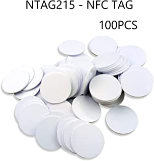 NFC Tags,NXP NTAG 215 Blank PVC NFC Coin Cards,504 Bytes Memory,Fully Compatible with TagMo Amiibo and All NFC Enabled Mobile Phones & Devices-(100Pcs)-30mm(1.18 inch)