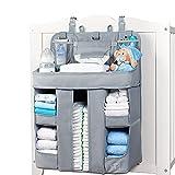 XL Hanging Diaper Caddy Organizer – Reinforced Diaper Stacker for Crib That Keeps Shape – Hanging Diaper Organizer for Changing Table, Playard, Wall & Door – Diaper Holder for Newborn Baby Girl & Boy