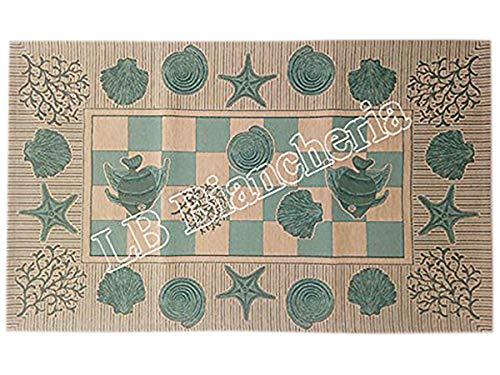 By Suardi - Alfombra decorativa de baño o cocina Marino Shabby Chic moderna de chenilla 55 x 115 cm fabricada en Italia, verde agua