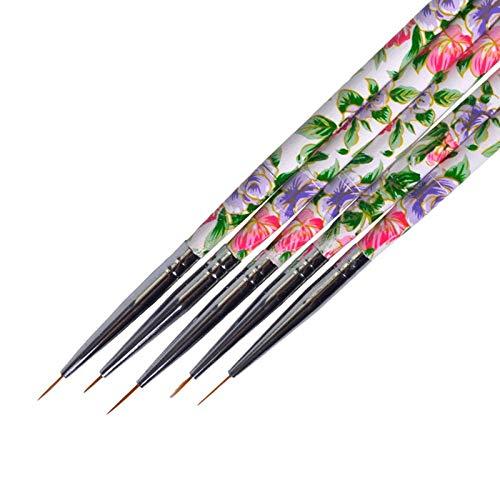 KYT-ma 5PCS Fleur Beauté Poignée Nail Art Liner Brosses Dessin Paiting for Acrylic UV Gel Stripes polonais Lignes manucure Pen TR619