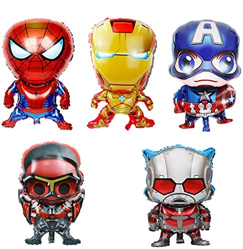 Bsstr 5pcs Superhero Balloons Birthday Party Decorations Supplies For Your Kids Theme Party, Baby Shower Birthday Pasrty