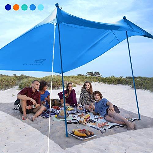 Bessport Schatten Zelt Sun Shelter 3m×3m | UPF 50+ UV Schutz & wasserdicht | mit 4 Sandsäcken und 2 Alustangen Lycra Sonnendach Strandmuschel für Strand, Camping