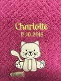 Babydecke bestickt mit Name und Geburtsdatum/kuschelig weich / 1A Qualität (Pink - KATZE (extra Flausch))