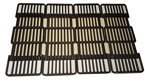Adjustable Porcelain Cast Iron Grid- Set of Four Grids for Master Centro, Charbroil, Sam's Club, Members Mark, Jenn-Air, and Other Model Grills,