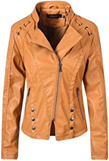 Yshaobinggva Women's Fashion Leather Jacket Punk Street Leather Jacket Lapel Leather Jacket Slim Short Leather Jacket (Color : Yellow, Size : XL)