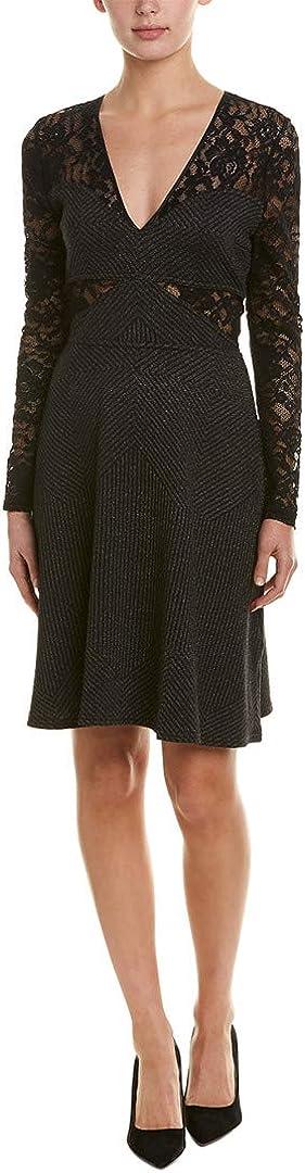 BCBGMAXAZRIA Women's Metallic Geo Stripe Lace Dress