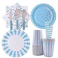 128 pezzi posate monouso in blu, set di stoviglie usa e getta forniture per feste, per feste, matrimoni, anniversari, compleanni (16 ospiti)
