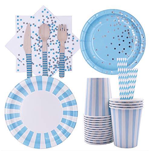 Deer Platz 128 Einweggeschirr Party-Set, Blau Papier Geschirr Set, Einweg Bronzing Besteckset, für Picknicks Kindergeburtstag Partys, 16 Personen