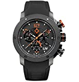 LIV Swiss Watches GX1 Swiss Analog Display Chronograph Casual Watch for Men; 45 mm Stainless Steel with Date Calendar; 660 feet Waterproof - Signature Orange