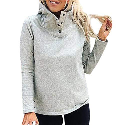 OSYARD Damen Pullover,Sweatshirt,Oberseiten, Frauen Tunika Hemd Oberteile Oversize Stehkragen Langarm Warme Taste Outwears T-Shirt Tops Bluse Sport Locker Pulli Streetwear Kleidung(XL, Grau)