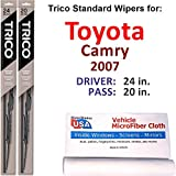 Wiper Blades Set for 2007 Toyota Camry Driver/Pass Trico Steel Wipers Set of 2 Bundled with MicroFiber Interior Car Cloth