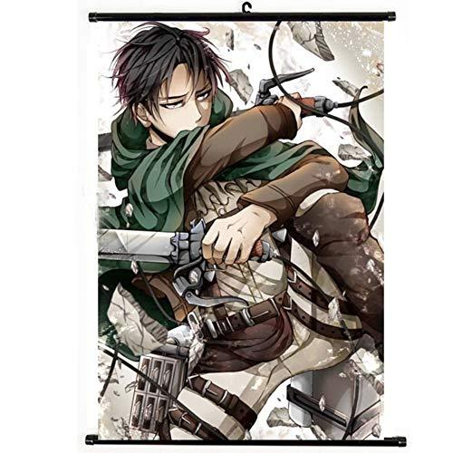 Sgot Poster Anime Attack on Titan - Toile imperméable de qualité supérieure - Décoration murale pour chambre - Motif : Levi Ackerman
