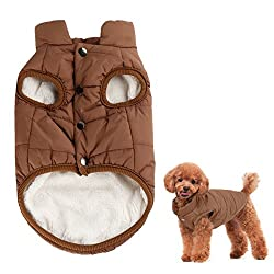 Size Large: Back Length: 37cm(14.5 inches), Chest Girth: 57cm (22.4 inches ), Neck Girth:37cm (14.5 inches ) Great Breathability and comfortable cloth for your pet, Coat Cotton lined, Keep Your Dog Warm, Dry and Happy in Cold Weather. Button Design i...