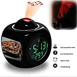 Projection Alarm Clock Wake Up Bedroom with Data and Temperature Display Talking Function, LED Wall / Ceiling Projection, Dinosaur-323.425_Coelophysis bauri (theropod dinosaur)