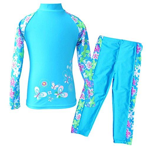 TFJH E Girls Swimsuit UPF 50+ UV Two-Piece Rash Guard Suits Blue Long 10-11 Years 14A
