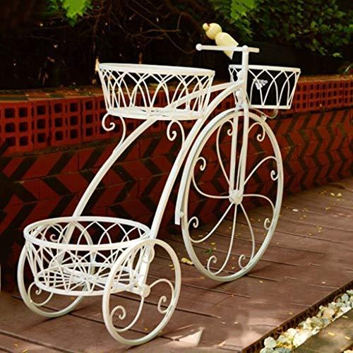 3 niveles de metal adornado Triciclo triciclo Stand Jardín Bicicleta Patio Adorno Rack, Soporte de la planta de bicicleta Jardinera de jardín Para mantener las plantas de maceta ( color : Blanco )