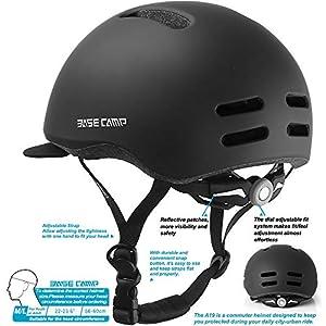 BASE CAMP Bike Helmet, Bicycle Helmet with Removable Visor for Adult Men Women Commuter Urban Scooter Adjustable M Size