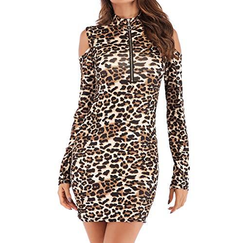 Vestido a Media Pierna elástico Larga con Estampado de Leopardo para Mujer Sexy para Mujer Fiesta elástico Ajustado de Cuello Alto Sexy con Cuello en V y Cintura Plisado con Volantes Vestido de Manga