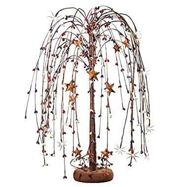 Primitive Remote Controlled LED Lighted Country Star Tabletop Willow Tree, Red