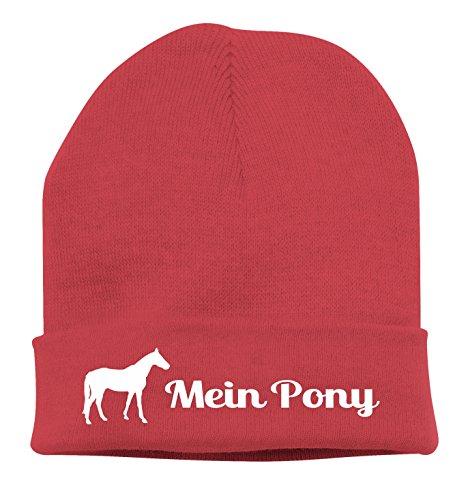 Siviwonder Strickmütze Pferde - Mein Pony Deutsches Reitpony reiten - Stickerei Pferd Winter Mütze Wintermütze Beanie Mütze rot-Weiss