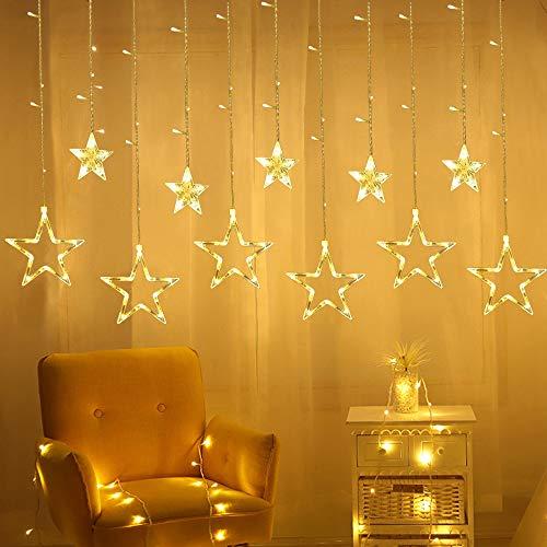 Tenda Stelle Led, Luci Stelle Tenda, 3M Luci Led Natale con 12 Stelle, Luminarie Natalizie Impermeabile, Natale Decorazioni per Camera da Letto Balcone Giardino Festa Matrimonio (Bianco Caldo)