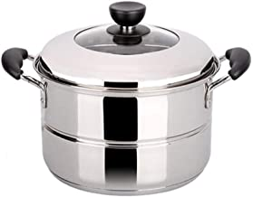 LJBH Steamer pot, suitable for home kitchen, single-layer stainless steel steamer set, gas stove induction cooker universa...