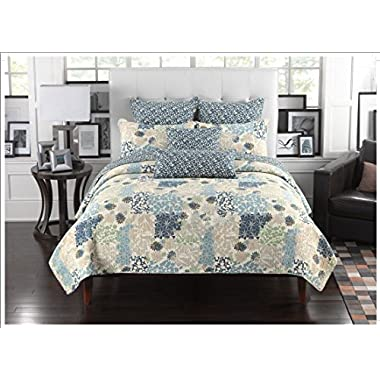 Mk Collection 3pc Bedspread Coverlet Floral Modern Blue Beige California King)