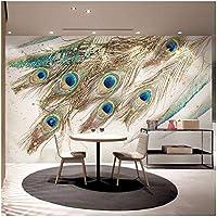 カスタム壁画 孔雀の羽 3Dの壁紙 リビングルームテレビソファの家の装飾 -350x250cm/138x98inch