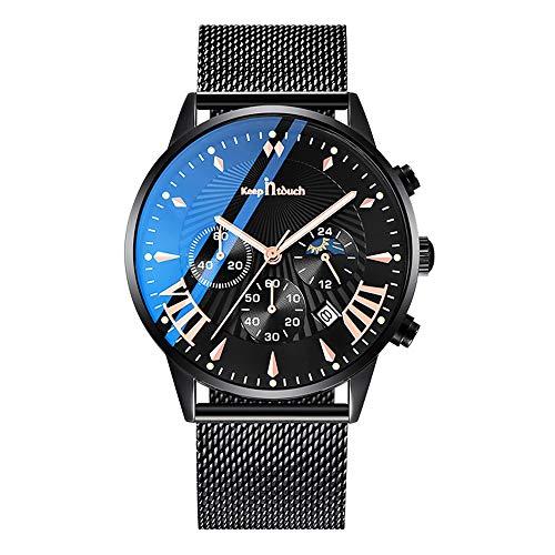 MICGIGI orologio da polso analogico al quarzo da uomo con cinturino a rete in acciaio inox impermeabile