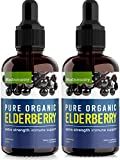 2 Pack Organic Elderberry Syrup Extra Strength, Sambucus Elderberry Syrup for Immune Support Immune System Booster - Black Elderberry Syrup