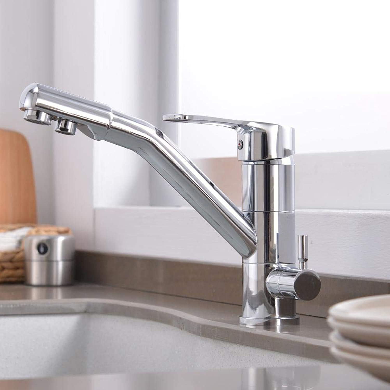 Brass Marble Coated Rotating Drinking Faucet, 3-way Water Filter Water Purifier Kitchen Faucet Chrome