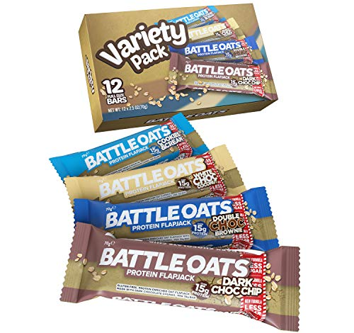 Battle Oats High Protein Flapjack, 12 x 70 g Protein Bars - Variety Pack