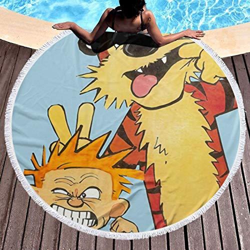Calv-in and Hobb-es Toalla de playa de microfibra toallas de viaje para hombres y mujeres, absorción de agua, comodidad para yoga, deportes, diámetro redondo de 132 cm