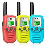 Kids Walkie Talkies, Wosports 3 Pack Two Way Radios with Belt Clip, 3 KM Range Children Toy for Outdoor Adventures Game, Camping, Hiking