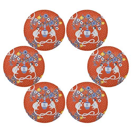 TropicalLife HaJie - Juego de 6 manteles individuales redondos antideslizantes y resistentes al calor para el hogar, vacaciones, fiestas, comedor