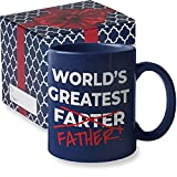 World's Greatest Farter Funny Fathers Day Coffee Mug | Best Farter Ever Coffee Cup - Funny Fathers Day Mugs from Son Daughter Kids | Cool Christmas Presents Fun Birthday Gag Gifts (WGF Blue)