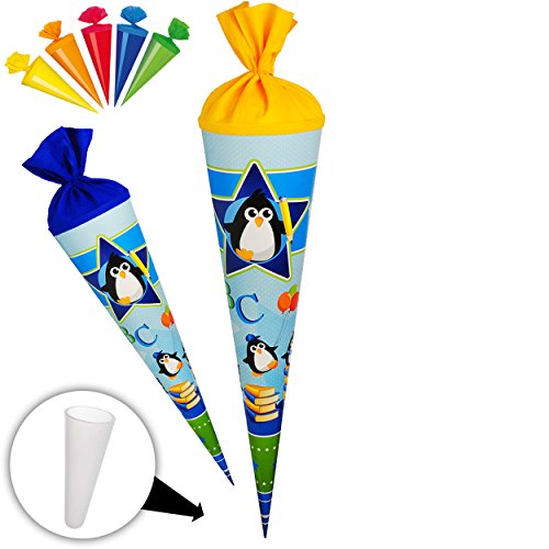 alles-meine.de GmbH Set _ Schultüte + 5 kleine Zuckertüten -  lustige Pinguine - Zootiere - ABC  - 70 cm - Filzabschluß - Zuckertüte - mit / ohne Kunststoff Spitze - Goldbuch -..