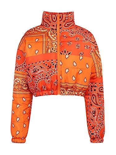 YU MENG Abrigo de Mujer Casual a Juego de Color, Cuello Alto, Cremallera, Abertura Frontal, patrón Irregular, Abrigo (Orange, XL)