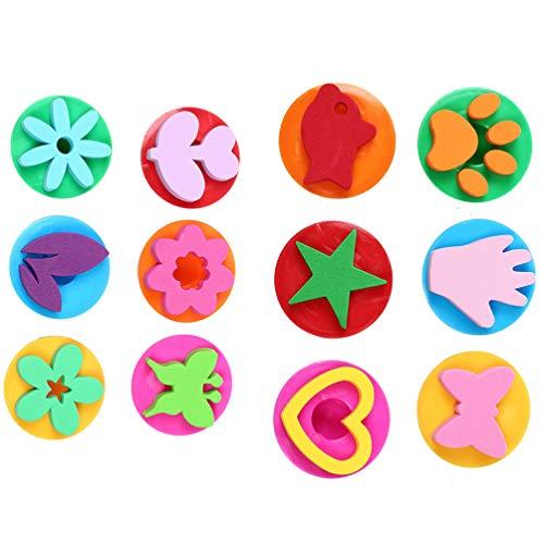 TOYANDONA 12 Pcs Éponge Peinture Eva Joint Brosses Bricolage Graffiti Stamper Encre Timbre Art Enfants Graffiti Jouets Dessin Accessoires Style 1