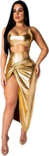 Women Club Sequin Bodycon Dress Crop Top Sexy High Split Off Shoulder Maxi Glitter Clubwear with Underwear
