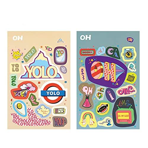 JJYGWBTS Pegatinas para neveras Pegatinas de Estilo Europeo y Americano de Moda 2 Paquetes de 4 Empezar con Equipaje Decorativo Etiquetas de refrigerador Pegatinas de teléfono móvil (Color : Oh)
