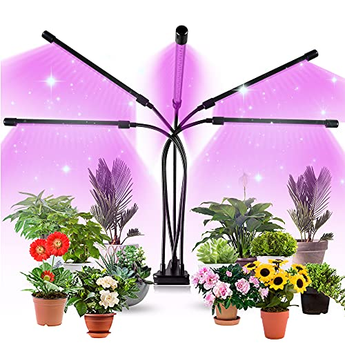 Aogled Lampada per Piante 50W,5 Testa Lampada Piante Spettro Completo con 150LED,Lampade LED Coltivazione con 360°Flessibile,10 Luminosità,Timer Automatico,Grow Light per la Crescita delle Piante