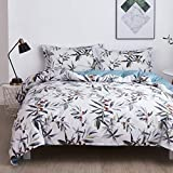 OAITE Duvet Cover Set, 100% Cotton Duvet Cover, Ultra Soft and Easy Care, Bedding Queen Size Set, Duvet Cover Set Includes Pillow Sham (Green-Dates, Twin)