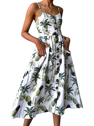 SWQZVT Women's Dress Summer Spaghetti Strap Sundress Casual Floral Midi Backless Button Up Swing Dresses with Pockets White XL