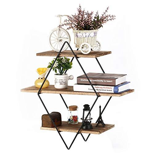 Homode Floating Shelves, Rustic Wood Geometric Wall Shelf, 3 Tier Diamond Metal Storage Shelves for Bedroom, Bathroom, Living Room, Kitchen, Office, Black and Brown