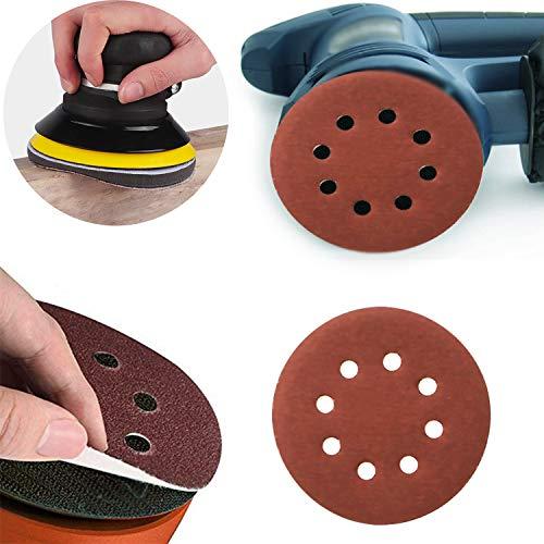 Zaky Discos de lijado de 125 mm, 100 unidades, 1000/1200/1500/2000/3000, con velcro, 8 agujeros, para madera, aglomerado, metal