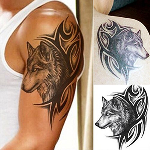 BLOUR Neue Heißwasserübertragung Fake Tattoo Wasserdicht Temporäre Tattoo Aufkleber Männer Frauen Wolf Tattoo Flash Tattoo Aufkleber